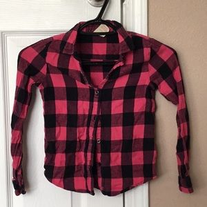 Other - Girls Hot pink and black Plaid Shirt 6/6x